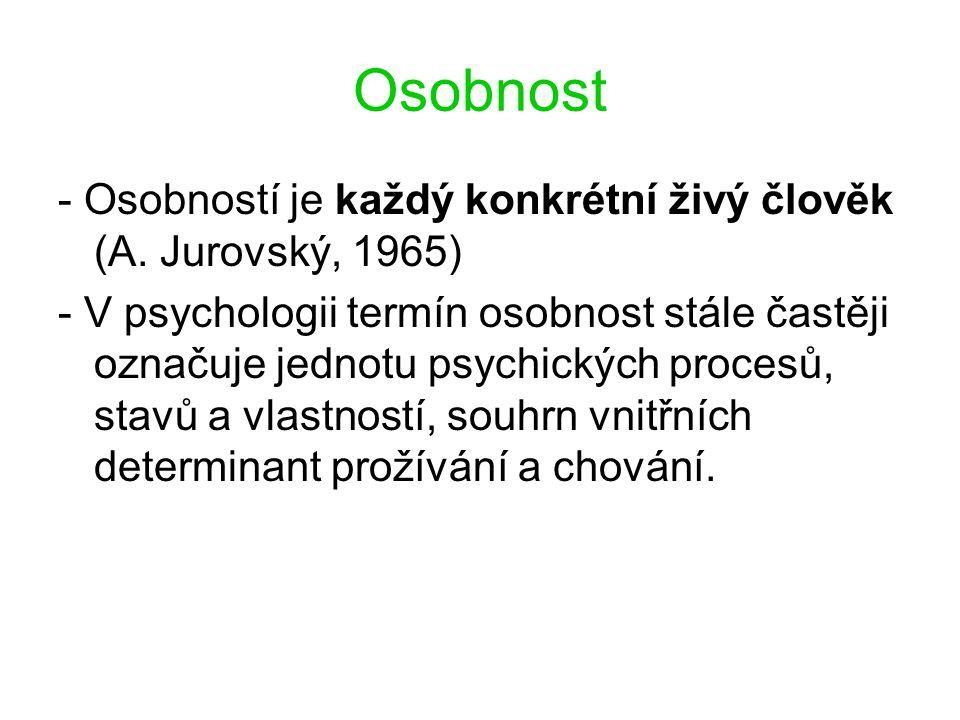 Osobnost - Osobností je každý konkrétní živý člověk (A. Jurovský, 1965) - V psychologii termín osobnost stále častěji označuje jednotu psychických pro