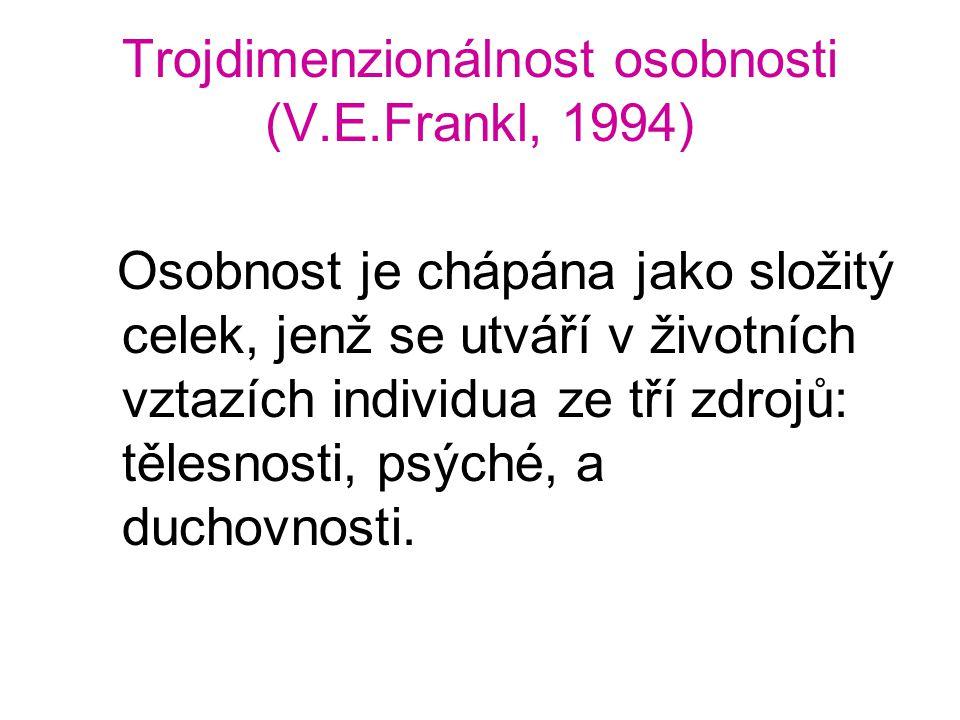 Trojdimenzionálnost osobnosti (V.E.Frankl, 1994) Osobnost je chápána jako složitý celek, jenž se utváří v životních vztazích individua ze tří zdrojů: