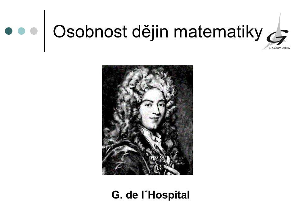 Osobnost dějin matematiky G. de l΄Hospital