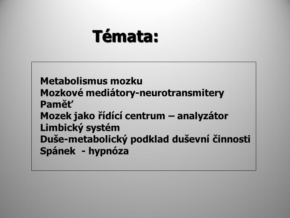 Témata: Metabolismus mozku Mozkové mediátory-neurotransmitery Paměť Mozek jako řídící centrum – analyzátor Limbický systém Duše-metabolický podklad duševní činnosti Spánek - hypnóza