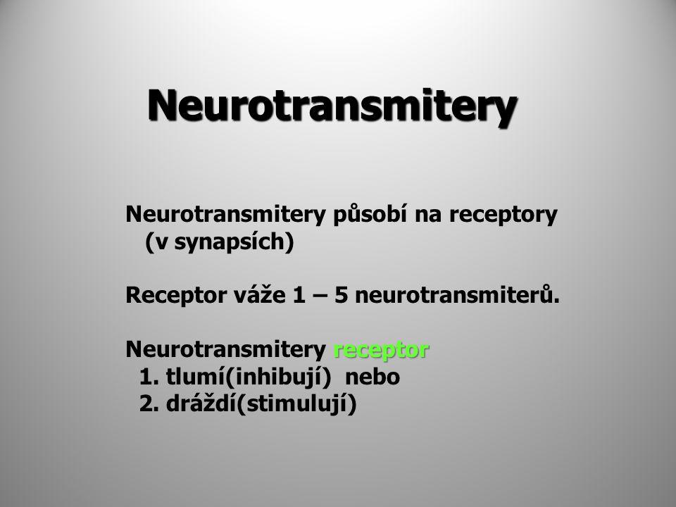 Neurotransmitery Neurotransmitery působí na receptory (v synapsích) Receptor váže 1 – 5 neurotransmiterů. receptor Neurotransmitery receptor 1. tlumí(
