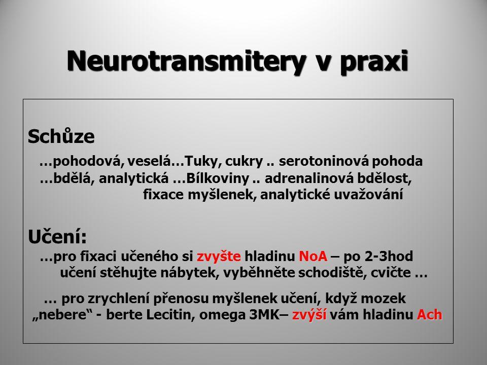 Neurotransmitery v praxi Schůze …pohodová, veselá…Tuky, cukry.. serotoninová pohoda …bdělá, analytická …Bílkoviny.. adrenalinová bdělost, fixace myšle