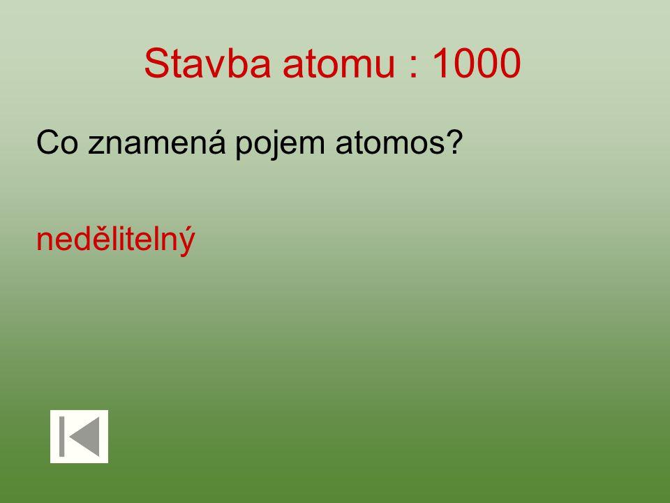 Stavba atomu : 1000 Co znamená pojem atomos? nedělitelný