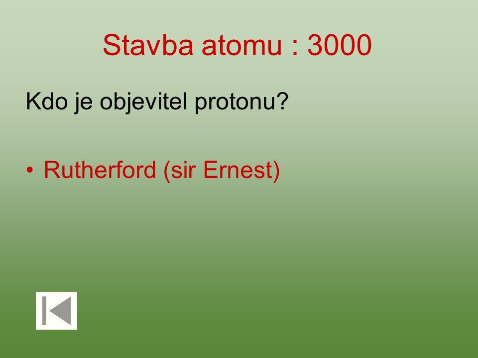 Stavba atomu : 3000 Kdo je objevitel protonu? Rutherford (sir Ernest)