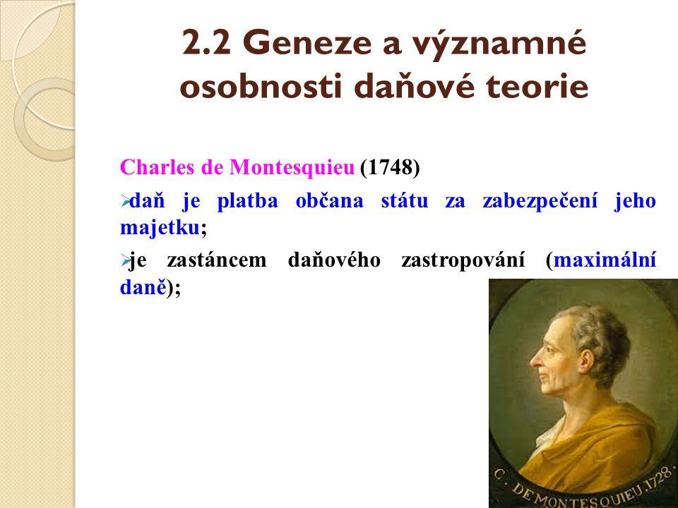 2.2 Geneze a významné osobnosti daňové teorie Charles de Montesquieu (1748)  daň je platba občana státu za zabezpečení jeho majetku;  je zastáncem d