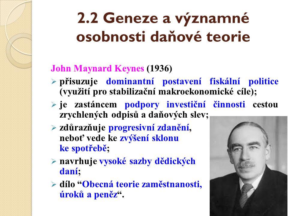 2.2 Geneze a významné osobnosti daňové teorie John Maynard Keynes (1936)  přisuzuje dominantní postavení fiskální politice (využití pro stabilizační