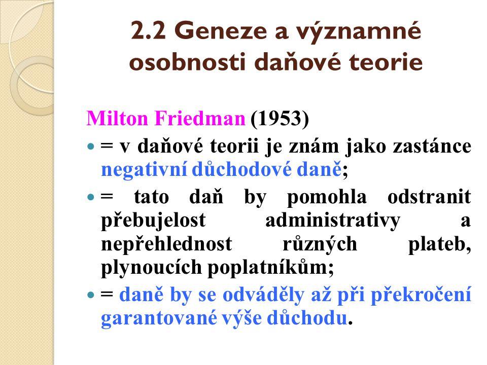 2.2 Geneze a významné osobnosti daňové teorie Milton Friedman (1953) = v daňové teorii je znám jako zastánce negativní důchodové daně; = tato daň by p