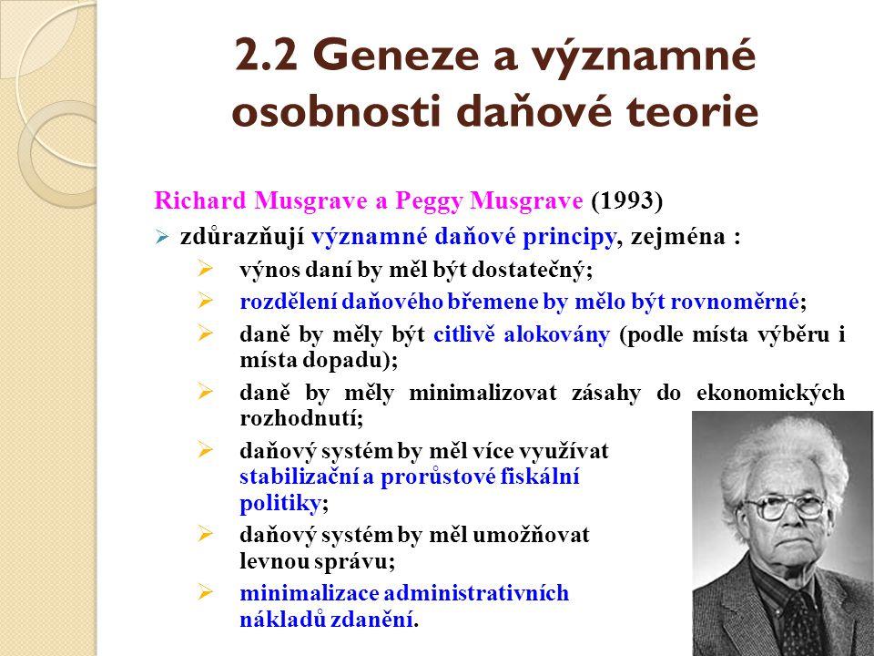 2.2 Geneze a významné osobnosti daňové teorie Richard Musgrave a Peggy Musgrave (1993)  zdůrazňují významné daňové principy, zejména :  výnos daní b