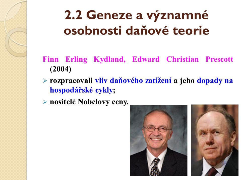 2.2 Geneze a významné osobnosti daňové teorie Finn Erling Kydland, Edward Christian Prescott (2004)  rozpracovali vliv daňového zatížení a jeho dopad