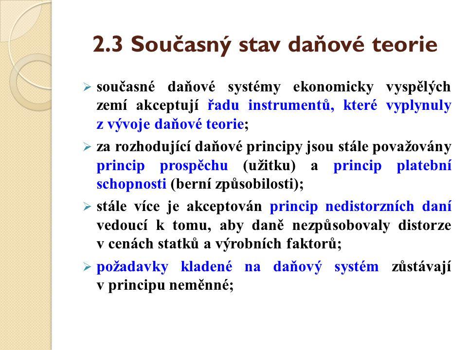 2.3 Současný stav daňové teorie  současné daňové systémy ekonomicky vyspělých zemí akceptují řadu instrumentů, které vyplynuly z vývoje daňové teorie