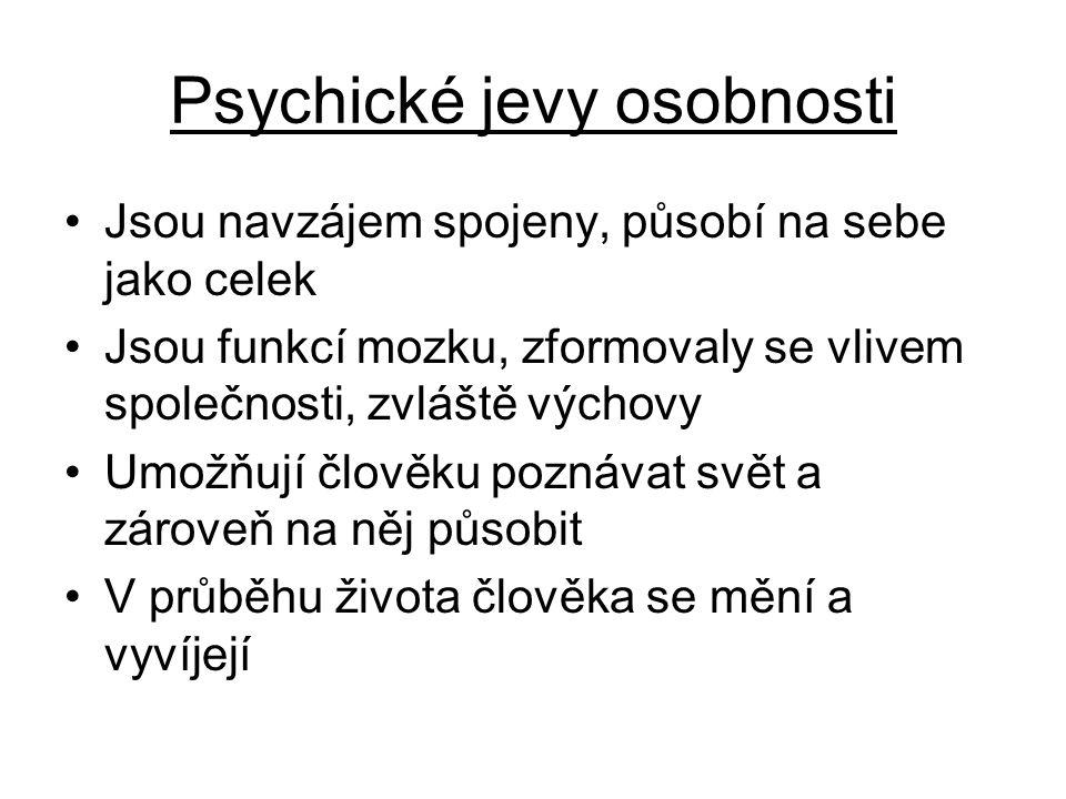 Dělení psychických jevů: 1.Psychické vlastnosti osobnosti 2.