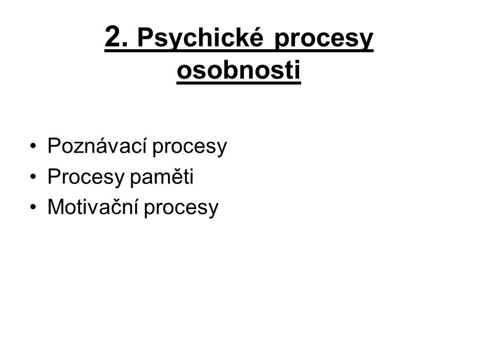 2. Psychické procesy osobnosti Poznávací procesy Procesy paměti Motivační procesy