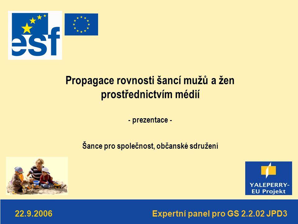 Expertní panel pro GS 2.2.02 JPD3 22.9.2006 Propagace rovnosti šancí mužů a žen prostřednictvím médií - prezentace - Šance pro společnost, občanské sdružení