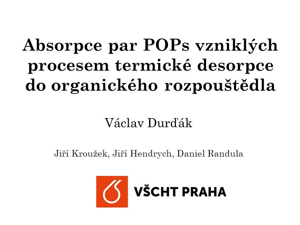 Absorpce par POPs vzniklých procesem termické desorpce do organického rozpouštědla Václav Durďák Jiří Kroužek, Jiří Hendrych, Daniel Randula