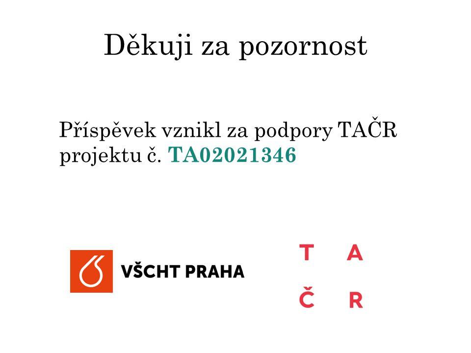 Děkuji za pozornost Příspěvek vznikl za podpory TAČR projektu č. TA02021346