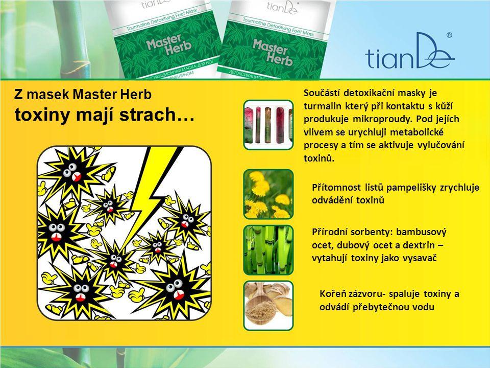 Z masek Master Herb toxiny mají strach… Součástí detoxikační masky je turmalin který při kontaktu s kůží produkuje mikroproudy.