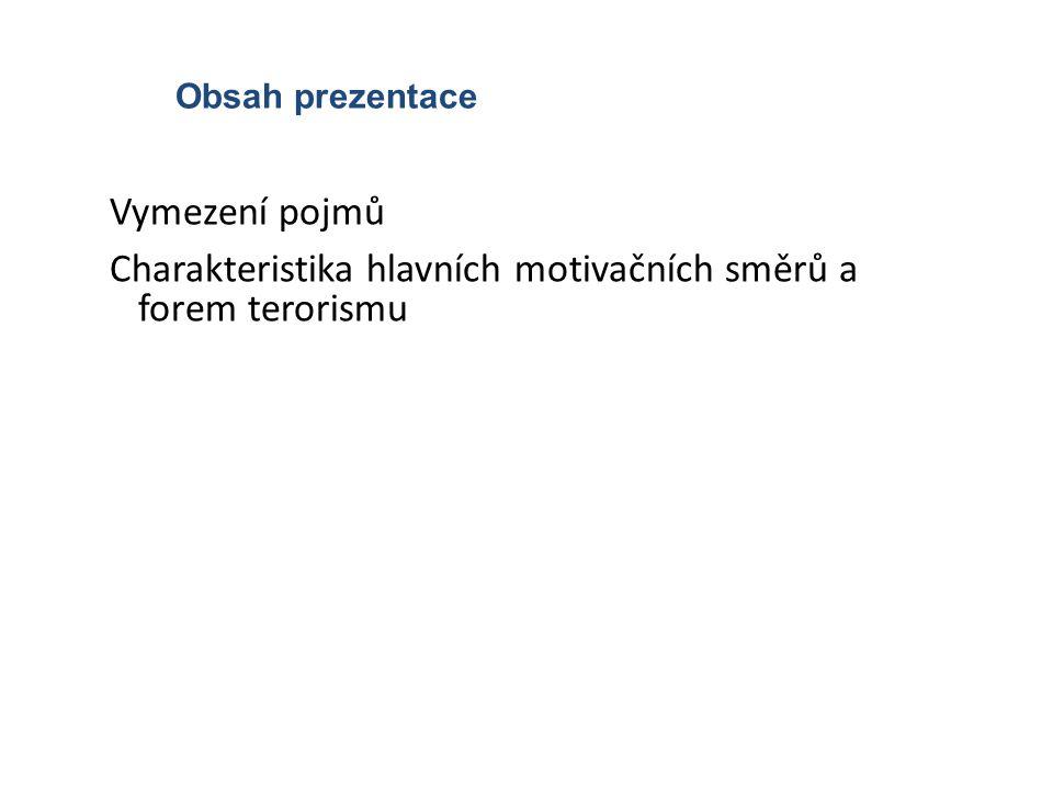 Obsah prezentace Vymezení pojmů Charakteristika hlavních motivačních směrů a forem terorismu