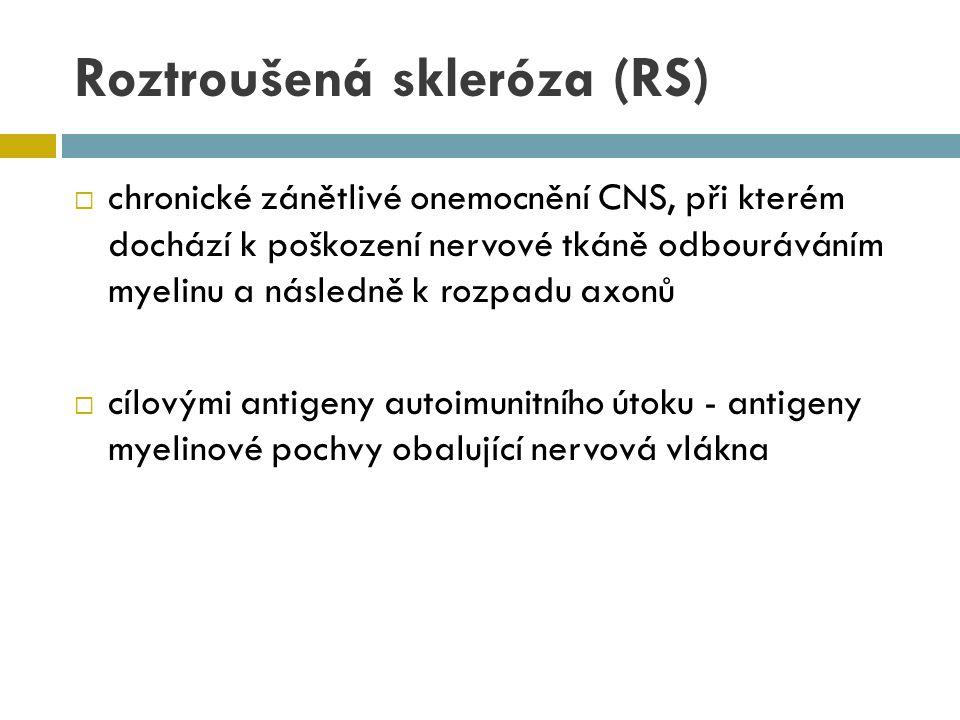 Roztroušená skleróza (RS)  chronické zánětlivé onemocnění CNS, při kterém dochází k poškození nervové tkáně odbouráváním myelinu a následně k rozpadu
