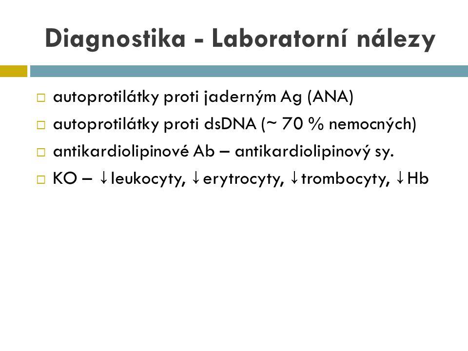  autoprotilátky proti jaderným Ag (ANA)  autoprotilátky proti dsDNA ( ∼ 70 % nemocných)  antikardiolipinové Ab – antikardiolipinový sy.  KO – ↓ le