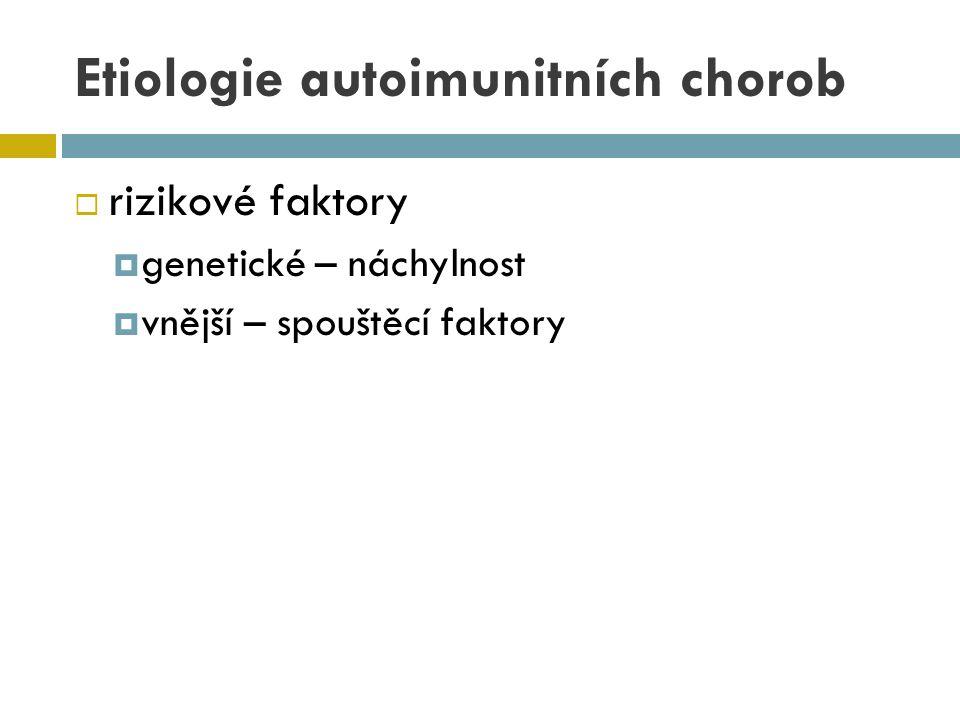 Etiologie autoimunitních chorob  rizikové faktory  genetické – náchylnost  vnější – spouštěcí faktory