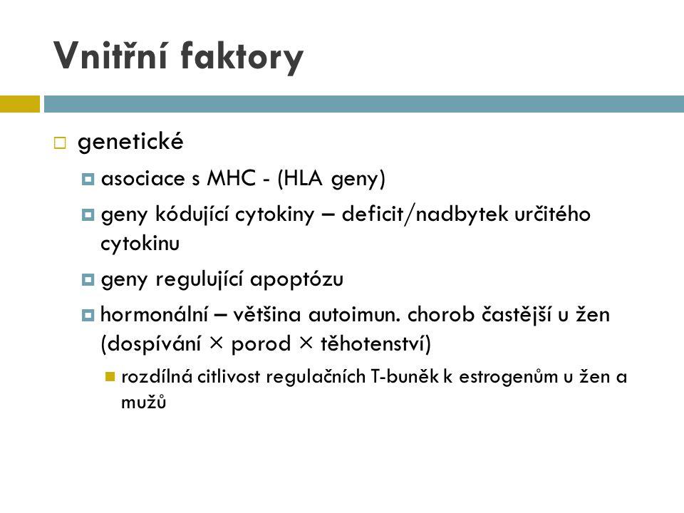 Vnitřní faktory  genetické  asociace s MHC - (HLA geny)  geny kódující cytokiny – deficit/nadbytek určitého cytokinu  geny regulující apoptózu  h