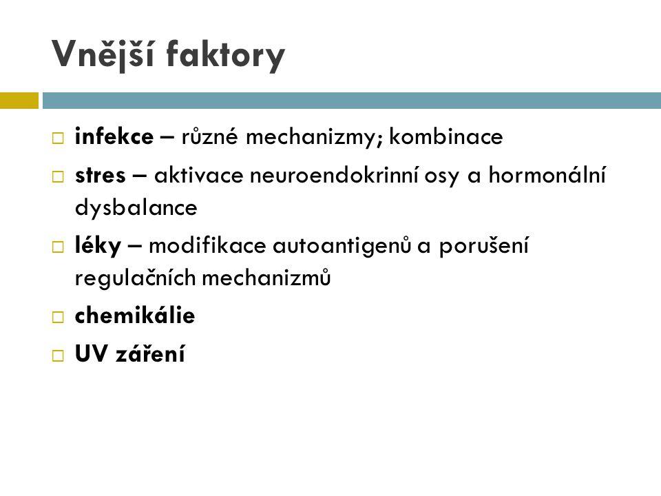 Vnější faktory  infekce – různé mechanizmy; kombinace  stres – aktivace neuroendokrinní osy a hormonální dysbalance  léky – modifikace autoantigenů