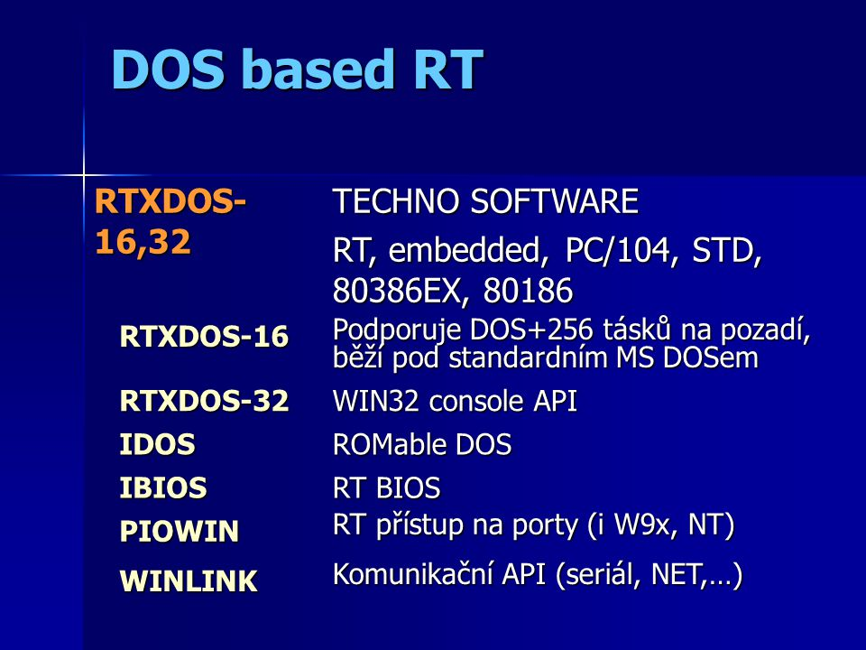 DOS based RT RTXDOS- 16,32 TECHNO SOFTWARE RT, embedded, PC/104, STD, 80386EX, 80186 RTXDOS-16 RTXDOS-16 Podporuje DOS+256 tásků na pozadí, běží pod standardním MS DOSem RTXDOS-32 RTXDOS-32 WIN32 console API IDOS IDOS ROMable DOS IBIOS IBIOS RT BIOS PIOWIN PIOWIN RT přístup na porty (i W9x, NT) WINLINK WINLINK Komunikační API (seriál, NET,…)