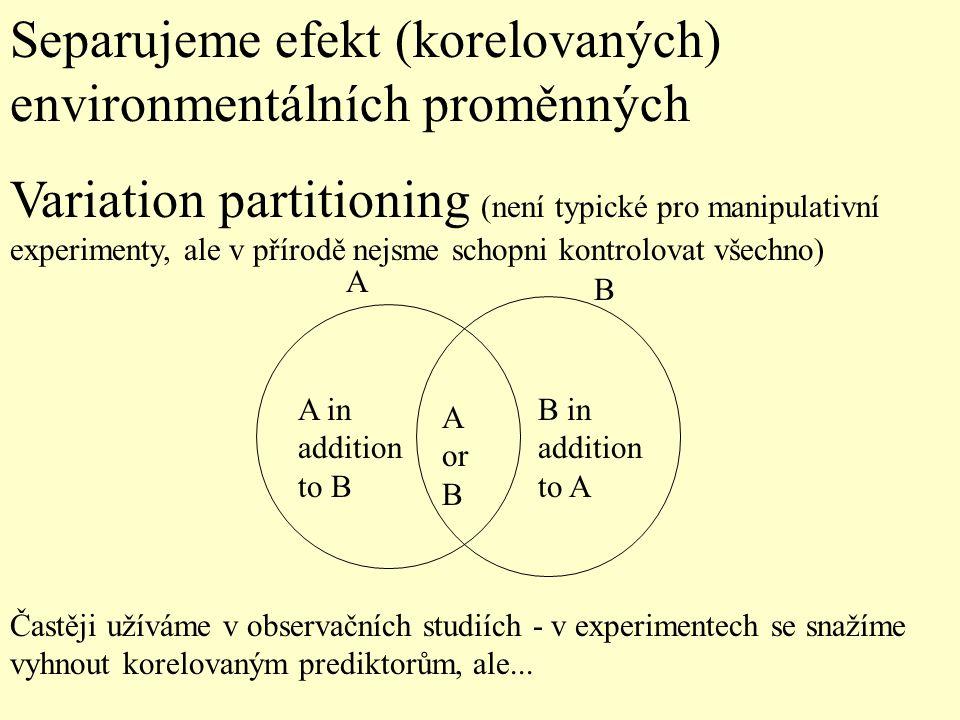 Separujeme efekt (korelovaných) environmentálních proměnných Variation partitioning (není typické pro manipulativní experimenty, ale v přírodě nejsme schopni kontrolovat všechno) A B A in addition to B B in addition to A A or B Častěji užíváme v observačních studiích - v experimentech se snažíme vyhnout korelovaným prediktorům, ale...