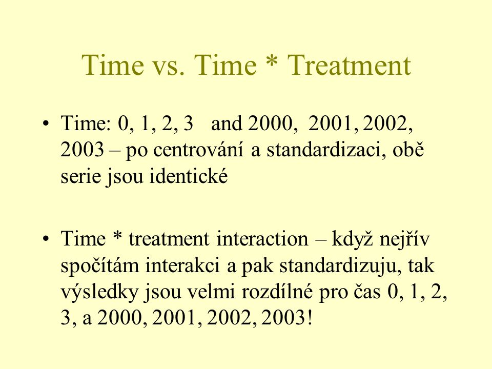 Time vs. Time * Treatment Time: 0, 1, 2, 3 and 2000, 2001, 2002, 2003 – po centrování a standardizaci, obě serie jsou identické Time * treatment inter