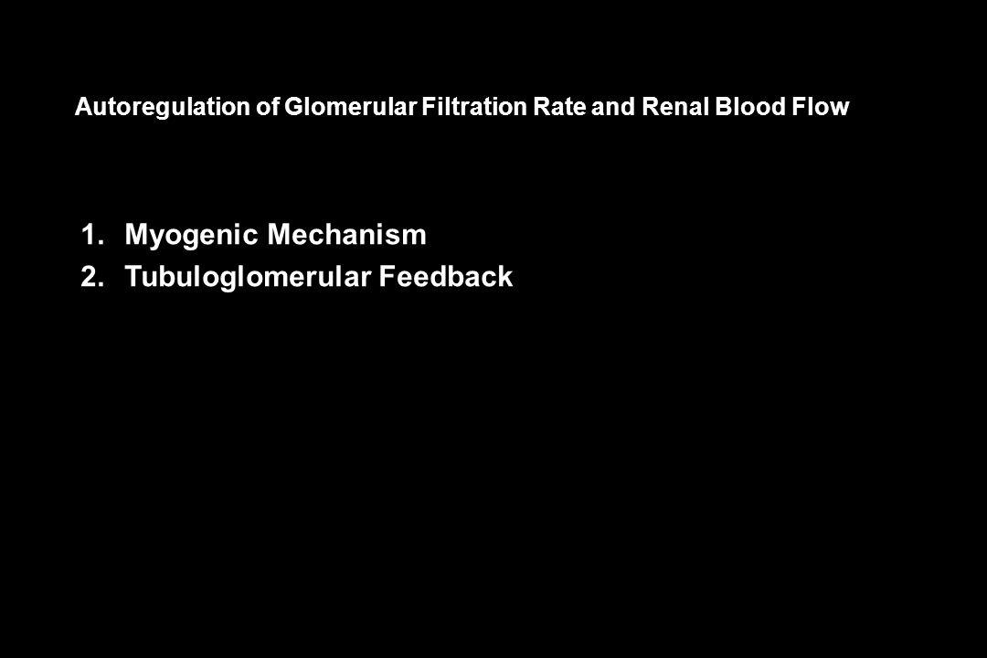 Autoregulation of Glomerular Filtration Rate and Renal Blood Flow 1.Myogenic Mechanism 2.Tubuloglomerular Feedback