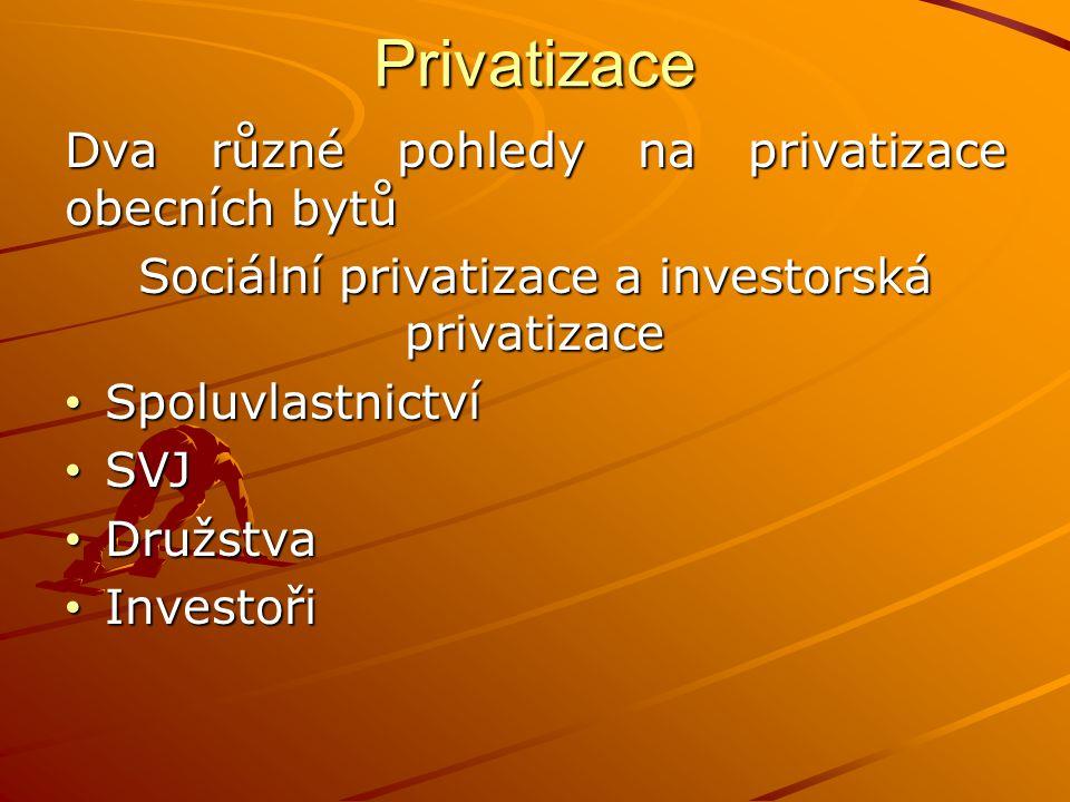 Privatizace Dva různé pohledy na privatizace obecních bytů Sociální privatizace a investorská privatizace Spoluvlastnictví Spoluvlastnictví SVJ SVJ Družstva Družstva Investoři Investoři