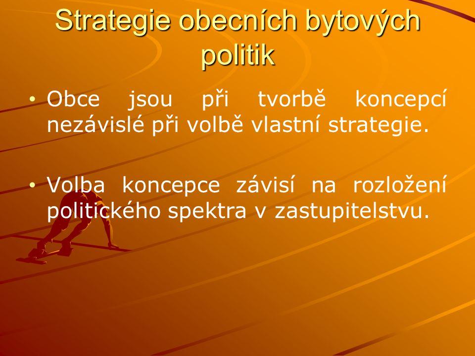 Strategie obecních bytových politik Obce jsou při tvorbě koncepcí nezávislé při volbě vlastní strategie. Volba koncepce závisí na rozložení politickéh