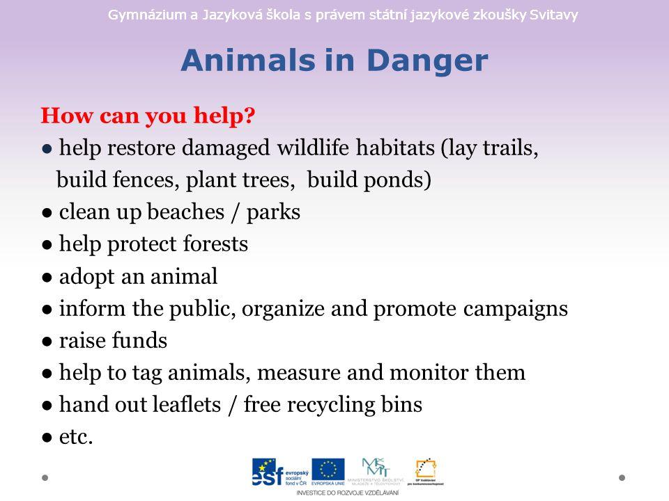 Gymnázium a Jazyková škola s právem státní jazykové zkoušky Svitavy Animals in Danger How can you help.