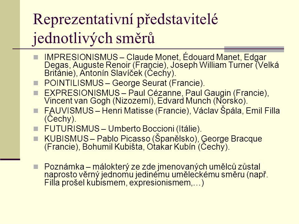 Reprezentativní představitelé jednotlivých směrů IMPRESIONISMUS – Claude Monet, Édouard Manet, Edgar Degas, Auguste Renoir (Francie), Joseph William Turner (Velká Británie), Antonín Slavíček (Čechy).