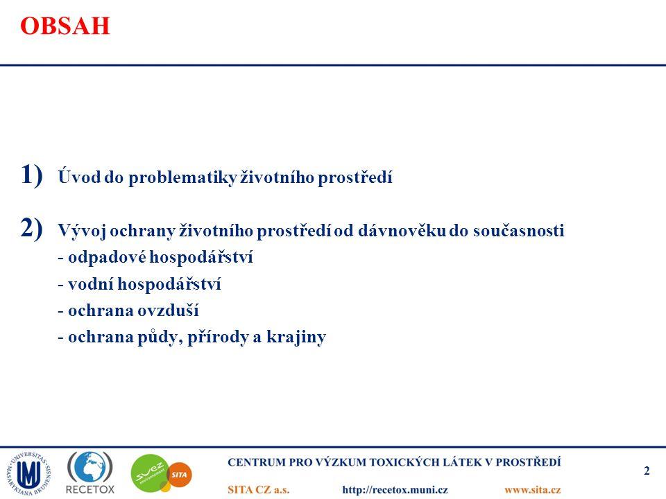 OBSAH 1) Úvod do problematiky životního prostředí 2) Vývoj ochrany životního prostředí od dávnověku do současnosti - odpadové hospodářství - vodní hos