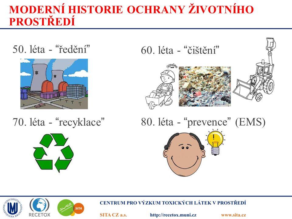 """MODERNÍ HISTORIE OCHRANY ŽIVOTNÍHO PROSTŘEDÍ 50. léta - """"ředění"""" 60. léta - """"čištění"""" 70. léta - """"recyklace"""" 80. léta - """"prevence"""" (EMS) !"""