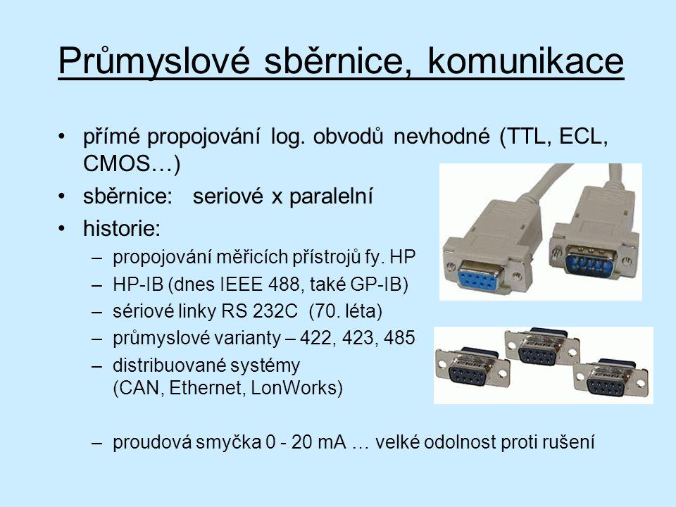 Průmyslové sběrnice, komunikace přímé propojování log. obvodů nevhodné (TTL, ECL, CMOS…) sběrnice:seriové x paralelní historie: –propojování měřicích