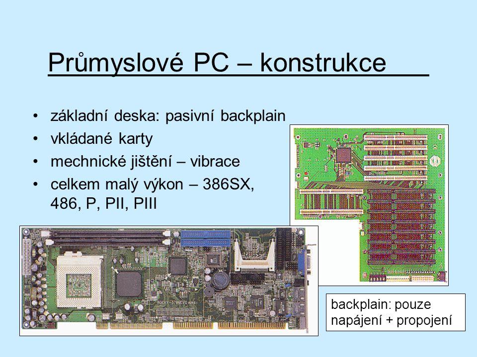 Průmyslové PC – konstrukce základní deska: pasivní backplain vkládané karty mechnické jištění – vibrace celkem malý výkon – 386SX, 486, P, PII, PIII b