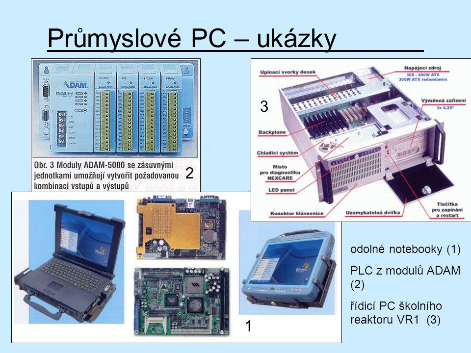Průmyslové PC – ukázky odolné notebooky (1) PLC z modulů ADAM (2) řídicí PC školního reaktoru VR1 (3) 1 2 3