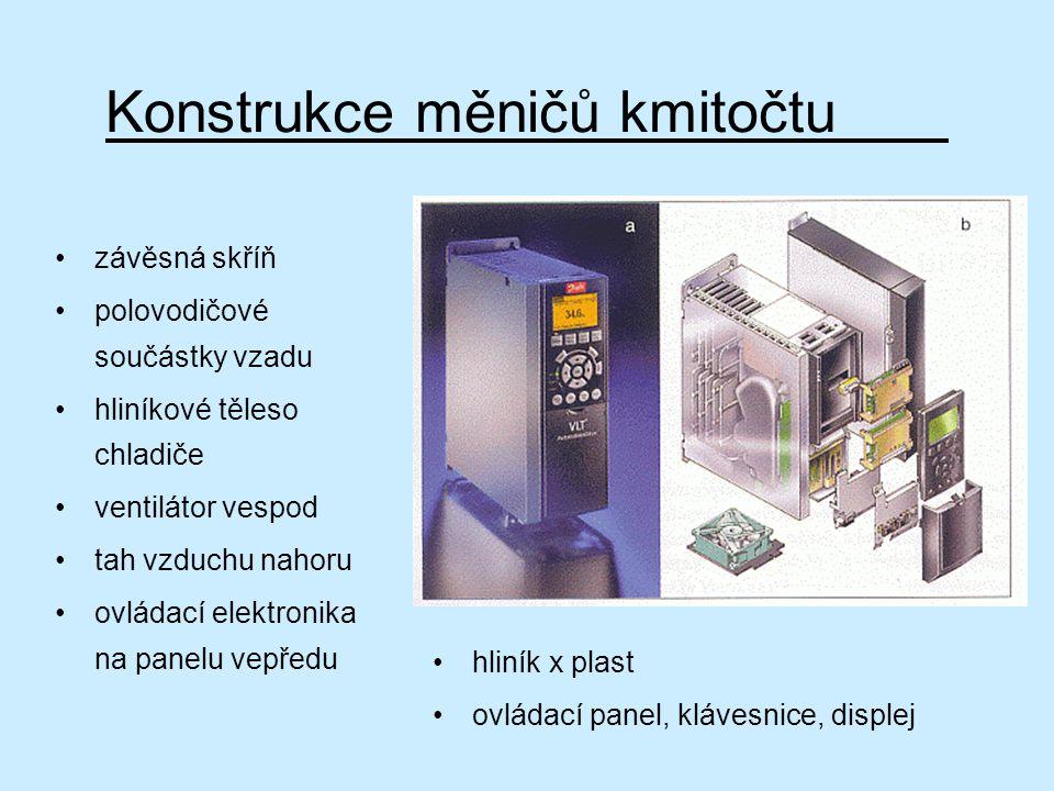 Konstrukce měničů kmitočtu závěsná skříň polovodičové součástky vzadu hliníkové těleso chladiče ventilátor vespod tah vzduchu nahoru ovládací elektron