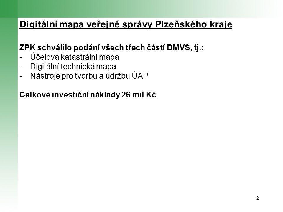 2 Digitální mapa veřejné správy Plzeňského kraje ZPK schválilo podání všech třech částí DMVS, tj.: -Účelová katastrální mapa -Digitální technická mapa -Nástroje pro tvorbu a údržbu ÚAP Celkové investiční náklady 26 mil Kč