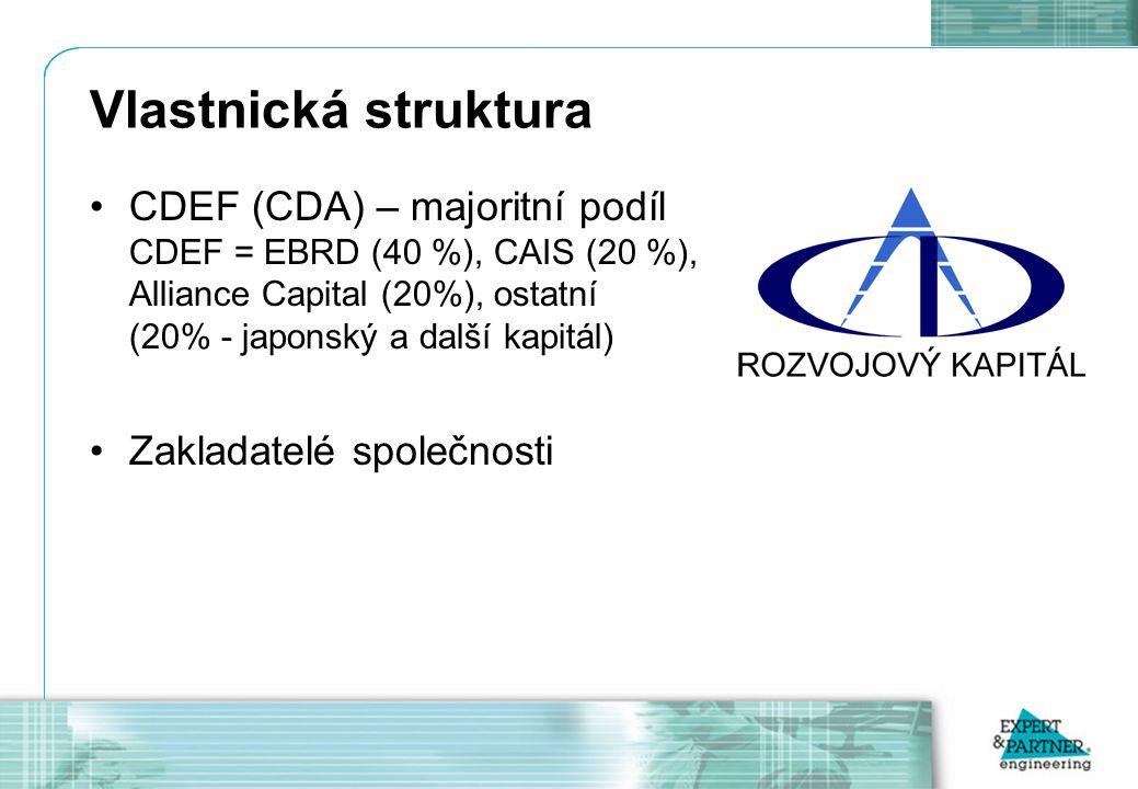 Vlastnická struktura CDEF (CDA) – majoritní podíl CDEF = EBRD (40 %), CAIS (20 %), Alliance Capital (20%), ostatní (20% - japonský a další kapitál) Zakladatelé společnosti