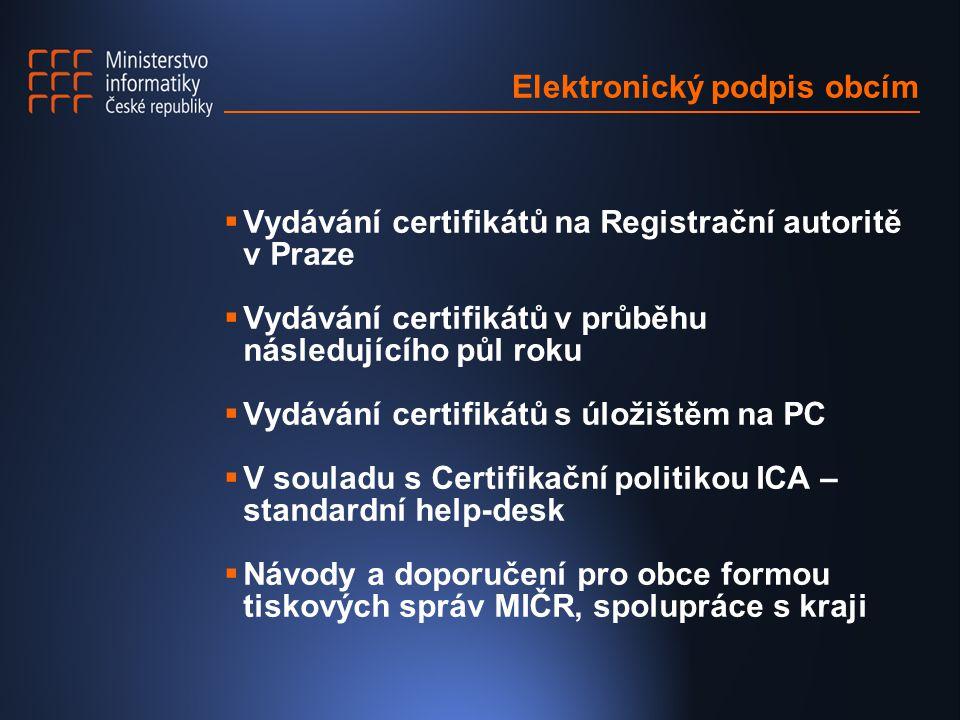 Elektronický podpis obcím  Vydávání certifikátů na Registrační autoritě v Praze  Vydávání certifikátů v průběhu následujícího půl roku  Vydávání certifikátů s úložištěm na PC  V souladu s Certifikační politikou ICA – standardní help-desk  Návody a doporučení pro obce formou tiskových správ MIČR, spolupráce s kraji