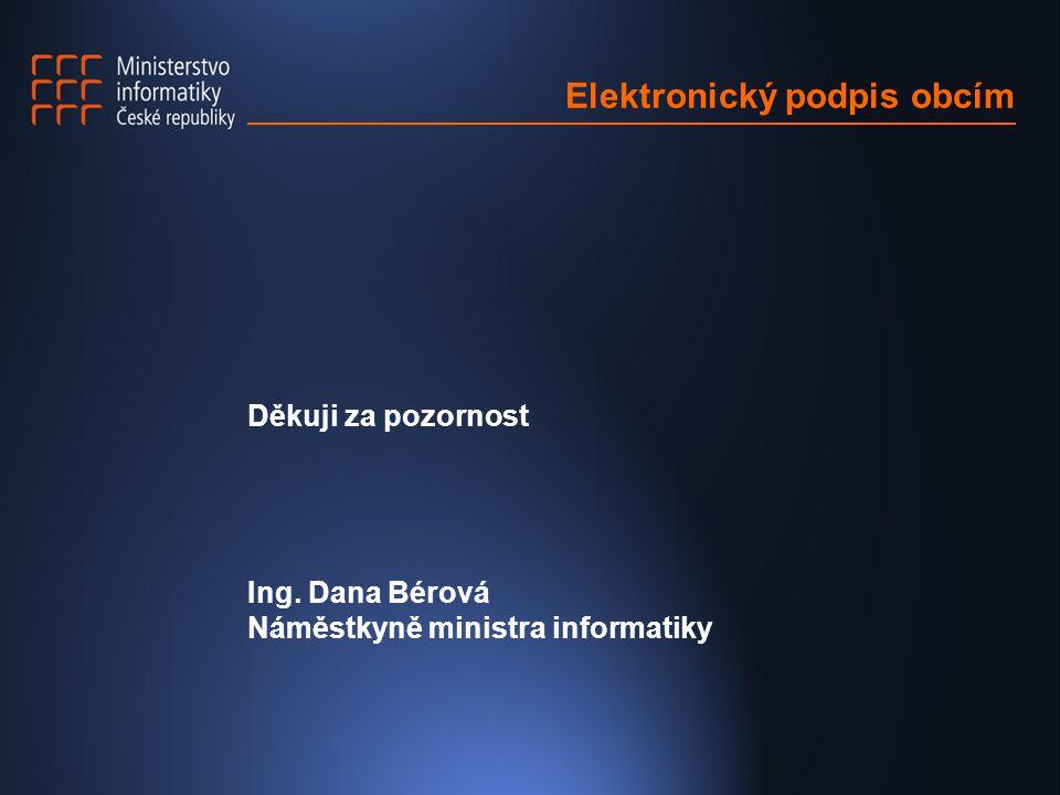 Elektronický podpis obcím Děkuji za pozornost Ing. Dana Bérová Náměstkyně ministra informatiky