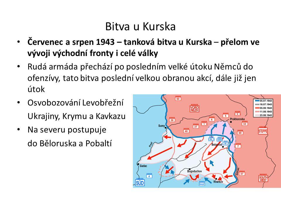 Bitva u Kurska Červenec a srpen 1943 – tanková bitva u Kurska – přelom ve vývoji východní fronty i celé války Rudá armáda přechází po posledním velké útoku Němců do ofenzívy, tato bitva poslední velkou obranou akcí, dále již jen útok Osvobozování Levobřežní Ukrajiny, Krymu a Kavkazu Na severu postupuje do Běloruska a Pobaltí