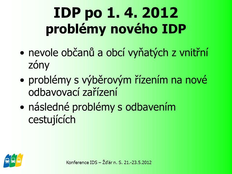 IDP po 1. 4. 2012 problémy nového IDP nevole občanů a obcí vyňatých z vnitřní zóny problémy s výběrovým řízením na nové odbavovací zařízení následné p