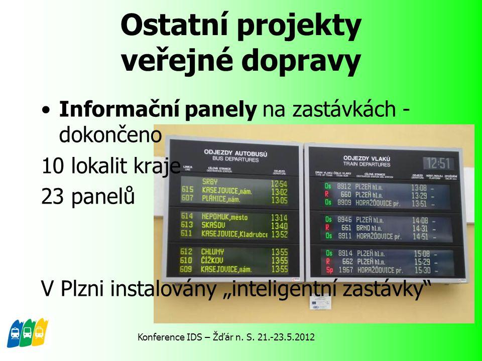 """Ostatní projekty veřejné dopravy Informační panely na zastávkách - dokončeno 10 lokalit kraje 23 panelů V Plzni instalovány """"inteligentní zastávky"""" Ko"""