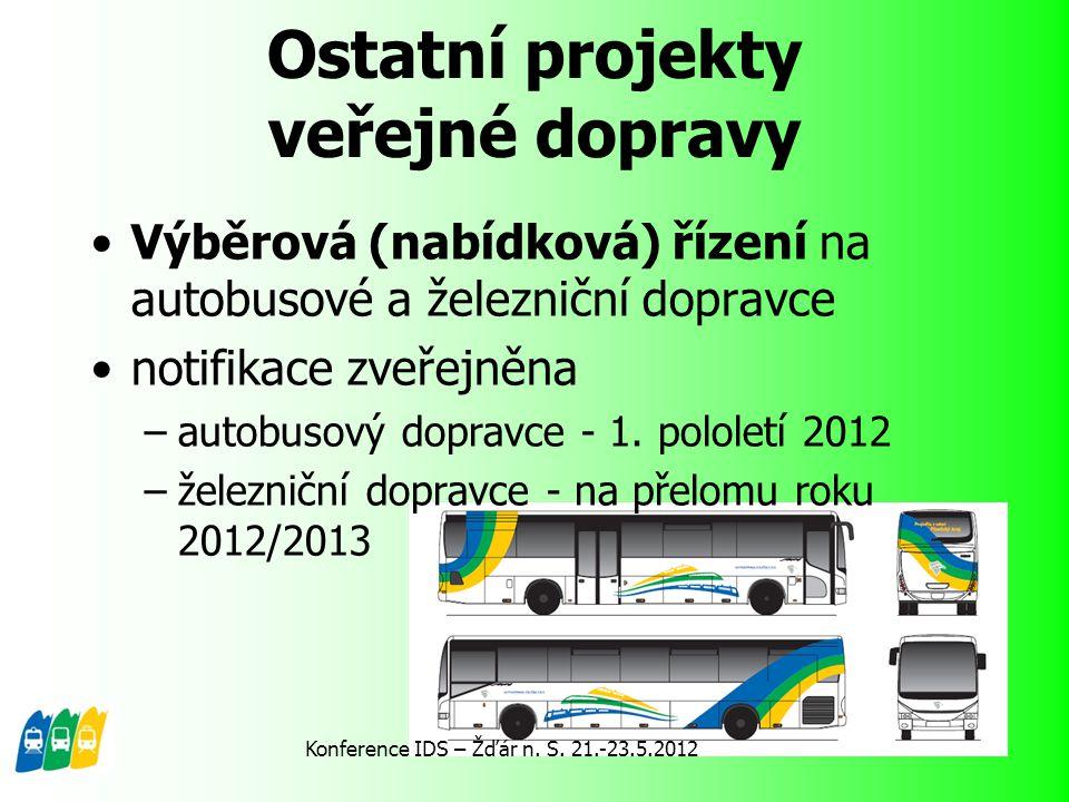 Ostatní projekty veřejné dopravy Výběrová (nabídková) řízení na autobusové a železniční dopravce notifikace zveřejněna –autobusový dopravce - 1. polol