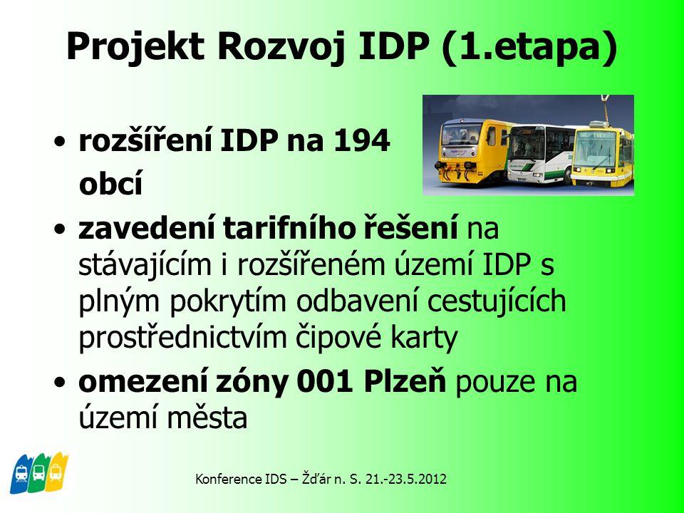 Projekt Rozvoj IDP (1.etapa) rozšíření IDP na 194 obcí zavedení tarifního řešení na stávajícím i rozšířeném území IDP s plným pokrytím odbavení cestuj