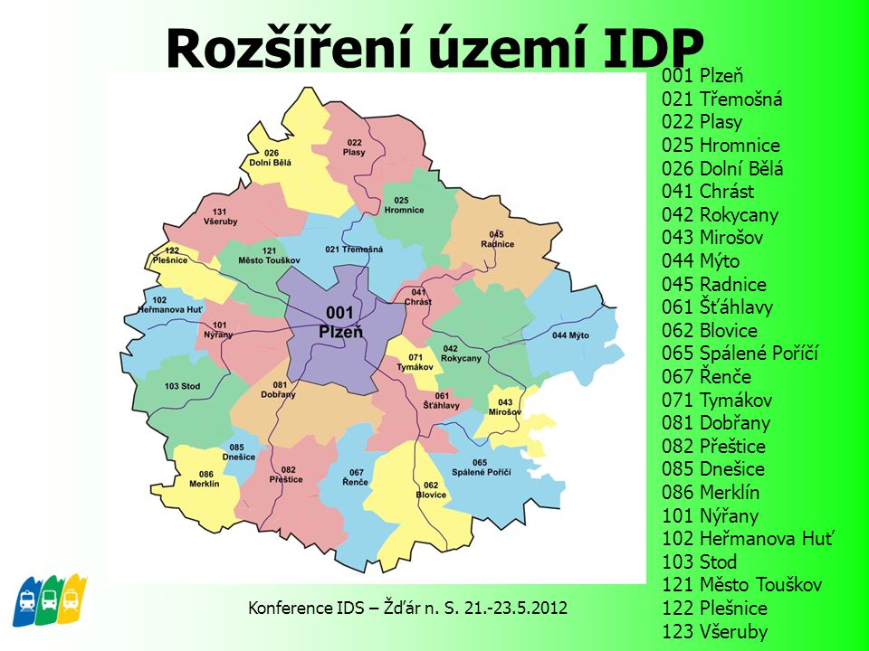 Rozšíření území IDP 001 Plzeň 021 Třemošná 022 Plasy 025 Hromnice 026 Dolní Bělá 041 Chrást 042 Rokycany 043 Mirošov 044 Mýto 045 Radnice 061 Šťáhlavy
